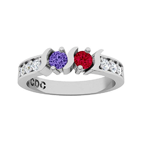 NANA S-Bar W/Sides Couple's Ring with His & Hers Simulated Birthstones - 14k White Gold - Size 5 by NaNa