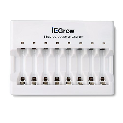 iEGrow 8-Bay AA AAA Battery Charger for Ni-MH N...