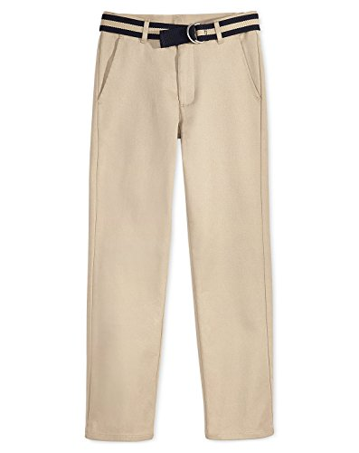 Nautica Boys Flat-Front Belted Twill Uniform Pants (Khaki, 14H)