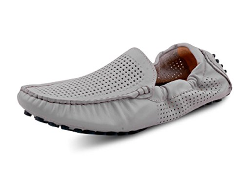 Happyshop(TM) Genuine Soft Leather Casual Slip-on Loafer Flats Driving Mens Cars Shoes Gray (Hollow Out) zZmUg9whB