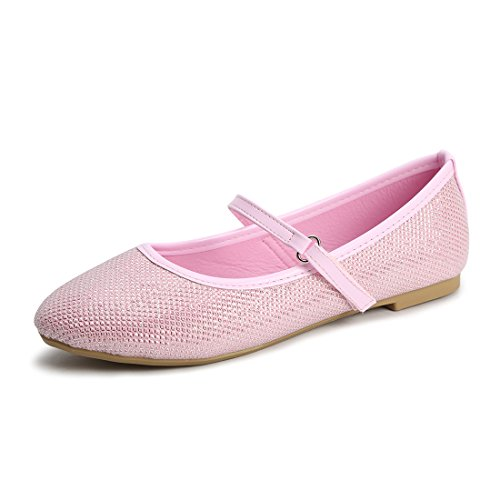 Hawkwell Mary Jane Bow Ballerina Flat (Toddler/Little Kid/Big Kid),Pink Glitter,2 M US