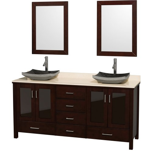 Wyndham Collection Lucy 72 inch Double Bathroom Vanity in Espresso, Ivory Marble Countertop, Altair Black Granite Sinks, and 24 inch Mirrors