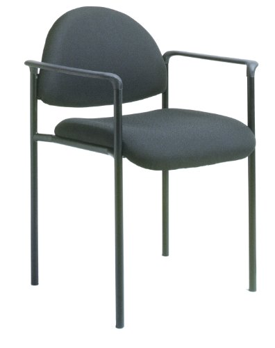 - Boss Office Products B9501-BK Dimond Fabric Stacking Chair with Arms in Black