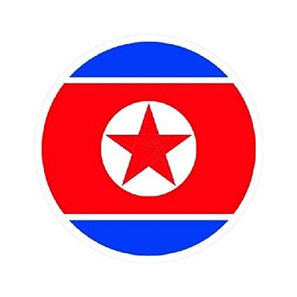 Round north korean flag sticker die cut decal fa vinyl