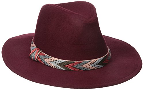 RAMPAGE Women's Felt Panama Hat with Band, Marsala, One Size (Felt Sombrero)