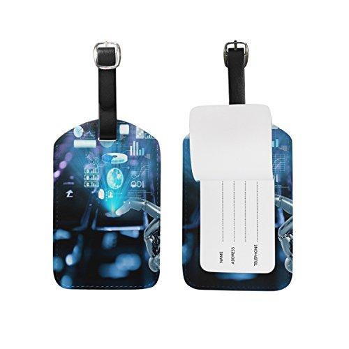 Saobao etiqueta de equipaje de viaje ciencia y tecnología fondo PU piel veliz de equipaje de viaje...