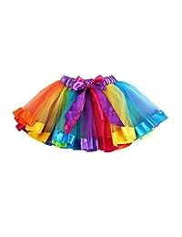 Tutu Dress Dancewear, Flank Girls Kids Petticoat Rainbow Pettiskirt Bowknot Skirt (S)
