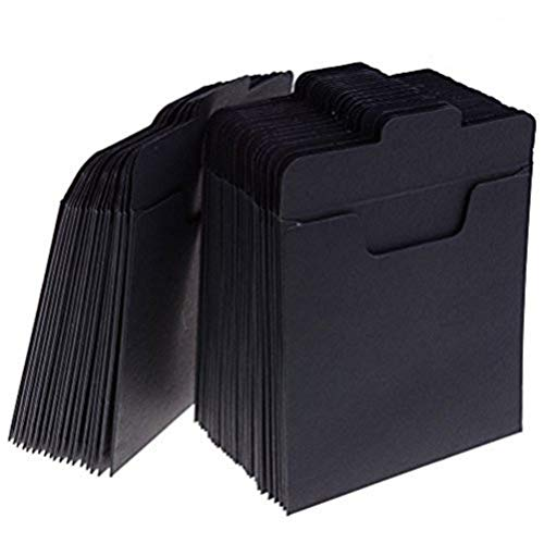 37YIMU 50 Pack CD Sleeves Kraft Paper DVD Envelopes, Black Blank CD Paper Cardboard, CD Kraft Paper Storage Holder Covers Packaging Sleeves - 4.9 x 4.9 Inch