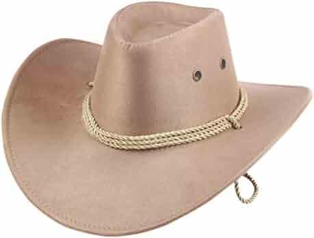 60828c16a265d0 UwantC Mens Faux Felt Western Cowboy Hat Fedora Outdoor Wide Brim Hat with  Strap