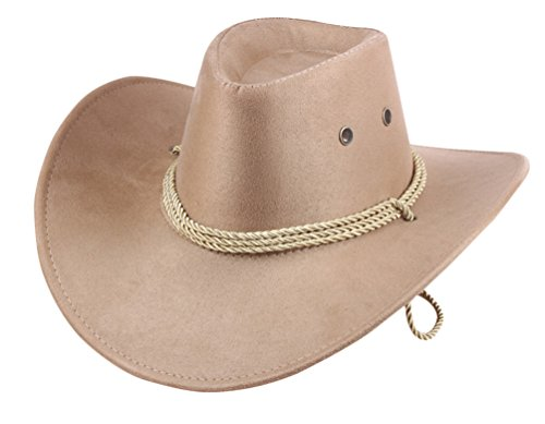 UwantC Mens Faux Felt Western Cowboy Hat Fedora Outdoor Wide Brim Hat with Strap Beige]()