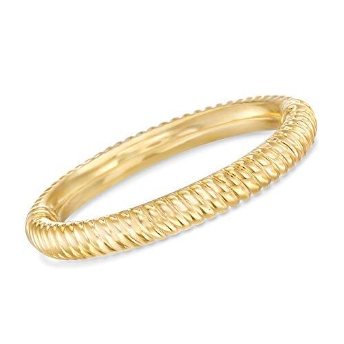 Ross-Simons Certified Italian Andiamo 14kt Yellow Gold Ribbed Bangle Bracelet