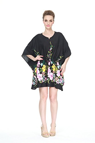 (Hula Batik's Women's Hawaiian Poncho With Tie Dress In Black Rafelsia)