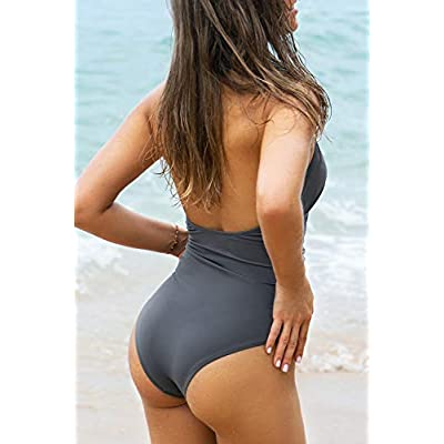 CUPSHE Women's Shirring Design V-Neck Low Back One Piece Swimsuit at Women's Clothing store