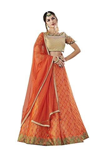 Ethnic 4 Facioun Traditional Choli Designer Indian Orange Da Partywear Lehenga wI4pqfZwz