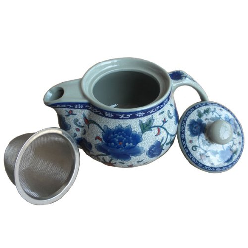 Blue Peony Porcelain Tea Set Ceramic Teapot With Infuser