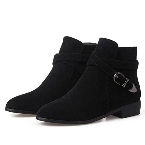Ei&iLI Chaussures talons plat PU cheville Bootie bout pointu bottes pour dames tenue décontractés , black , 37