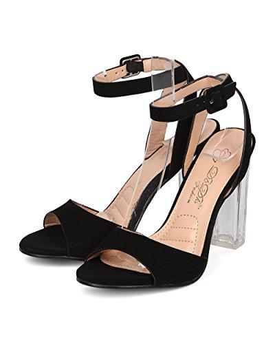 DbDk Women Nubuck Lucite Block Heel - Dressy, Wedding, Formal - Ankle Strap Sandal - GE53 by Black