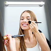 Cordless LED Mirror Light, Portable Vanity Lights | Simulated Daylight | 4 Brightness Level Touch Control | Rechargeable, Makeup Light Includes Makeup Brushes