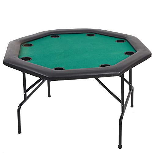 Karmas Product Folding Texas Poker Table Top Casino Game for 8/10 Players Green
