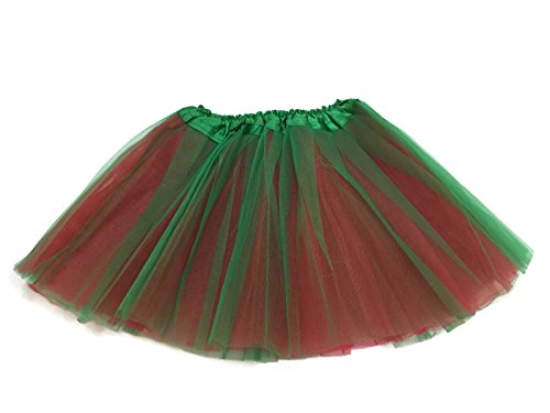 Rush Dance Reversible Sides Ballerina Girls Dress-Up Ballet Costume Recital Tutu (Kids (3-8 Years Old), Red & Kelly Green) (Recital Dance Costumes Girls)