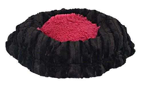 BESSIE AND BARNIE Ultra Plush Black Puma/Lollipop (Patch) Shag Deluxe Dog/Pet Lily Pod Bed