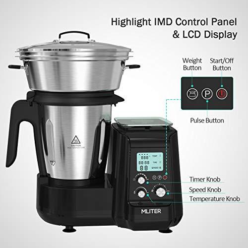 Robot de Cocina, Batidora, Soup Maker Multifuncional MLITER, Picadora Vaporera Acero Inoxidable, Báscula Digital, con Pantalla LCD 5 Velocidades ...