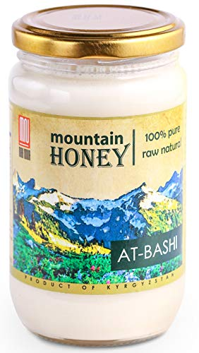 Raw White Honey (15.8 Ounce); Natural Organic Creamed Wildflower Mountain Honey from Central Asia - Unheated & Unfiltered - Contains Natural Enzymes, Pollen & Propolis - by Mira Nova (Organic Canadian Raw Honey)