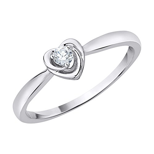 - KATARINA Diamond Accent Heart Promise Ring in 10K White Gold (J-K, SI2-I1) (Size-11.25)