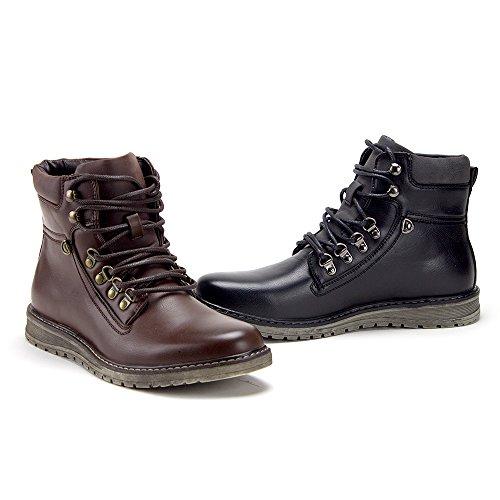 Jaime Aldo Mens C-2817 Casual Chaussures À Lacets Zipper Bottines Solide Marron