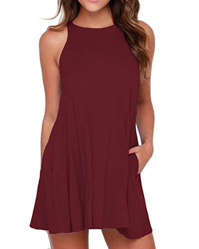 HiMONE Women's Sleeveless Pockets Casual Loose T-Shirt Tank Top Dress Wine Red Small