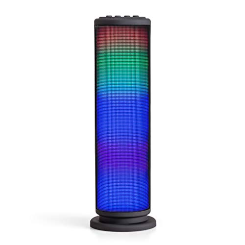 Riptunes Portable Bluetooth Speaker, Wireless Speakers, Mini Tower Speaker with Colorful Lights, Aux-in, Micro SD, USB, Hands-Free Speakerphone and FM Radio - Black (Best Tower Speakers For Music)