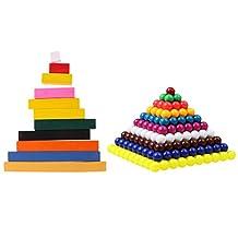 MonkeyJack Montessori Maths Materials Counting Sticks + Beads Sheet Kids Preschool Educational Toys Gift