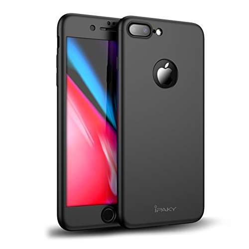 iPhone 7 Plus Case, Rebex & Ipaky All-around Protective Case [ [Anti-Scratch] Dual Layer Hard Cover With Tempered Glass Screen Protector For iPhone 7 Plus (Black)