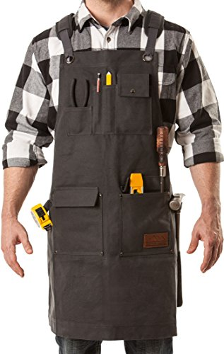 Aspen Workwear | Heavy Duty Waxed Canvas Shop Apron with Neck and Shoulder Relief – Adjustable up to XXL for Men & (Carhartt Leather Waterproof Glove)