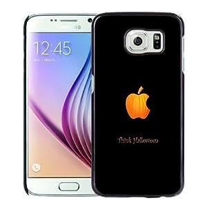 NEW Unique Custom Designed Samsung Galaxy S6 Phone Case With Think Halloween Apple Logo_Black Phone Case