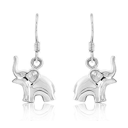 Sterling Silver 925 Elephant Design Fine Quality Drop Earrings CZxMuEc