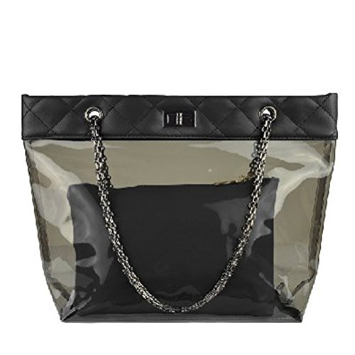 Donalworld Waterproof Chain Clear Beach Jelly Quilted Black Handbag