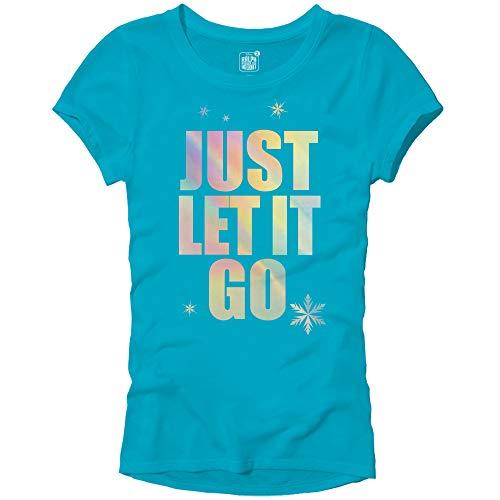 (Disney Frozen Elsa Just Let It Go Comfy Princess Disneyland World Tee Funny Women's Graphic Juniors T-Shirt(Turquoise,Large))