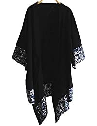 LZJN Men's Kimono Cardigan Cotton Linen Blended Cloak Poncho Open Front Coat