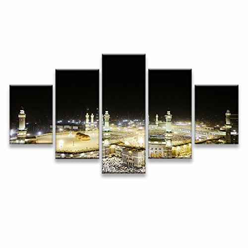 Mosque Modern Islamic Muslim wall art canvas prints art home decor for living room Pictures pictures 5 panel large HD printed painting Framed Ready to hang by VIIVEI