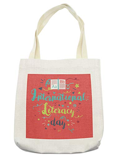 Lunarable ABC Classroom Tote Bag, International Literacy Day Calligraphy Celebration Doodle Stars, Cloth Linen Reusable Bag for Shopping Groceries Books Beach Travel & More, Cream