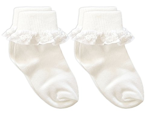 Country Kids Baby Girls' Cotton Turncuff Socks with Pretty Rose Chain Lace, Pack of 2, Fits 1-2 years (shoe size 3-7.5), (Toddler Fancy Dress)