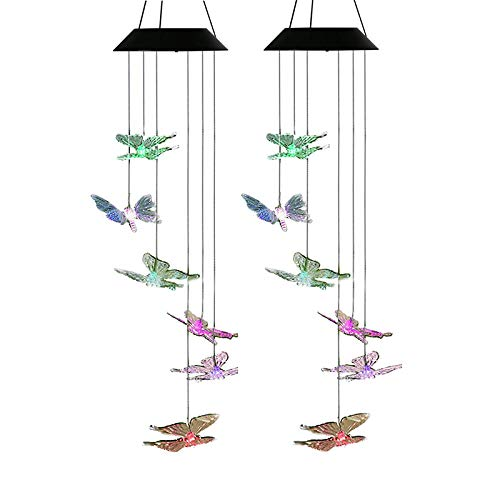 AceList 2 Pack Changing Color Butterfly Wind Chime, Spiral Spinner Windchime Portable Outdoor Decorative Romantic Windbell Light for Patio, Deck, Yard, Garden, Home, Pathway by AceList