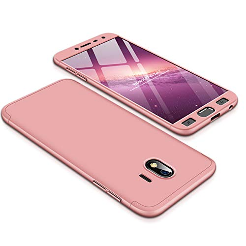 Samsung Galaxy J4 Case, 3 in1 Hybrid Case 360 Degres Full Protection Anti-Scratch Hard PC Case Cover for Samsung J4 (Samsung Galaxy J4, Rose Gold)