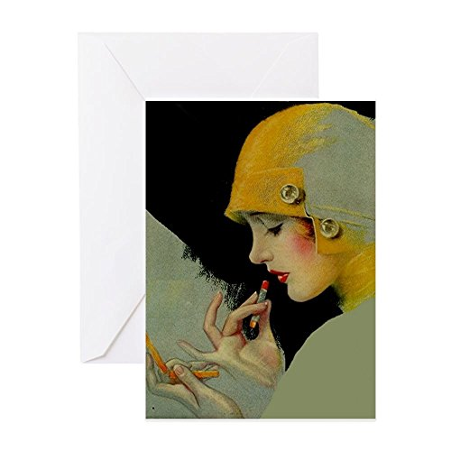 CafePress Art Deco Roaring 20S Flapper With Lipstick Greetin Greeting Card, Note Card, Birthday Card, Blank Inside Matte