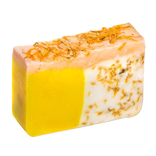 Orange Soap Bar with Calendula Oil (4 Oz) - Handmade Organic with Essential Oils. Natural Moisturizing Body Soap for Skin and Face. With Shea Butter, Coconut Oil, Natural Glycerin