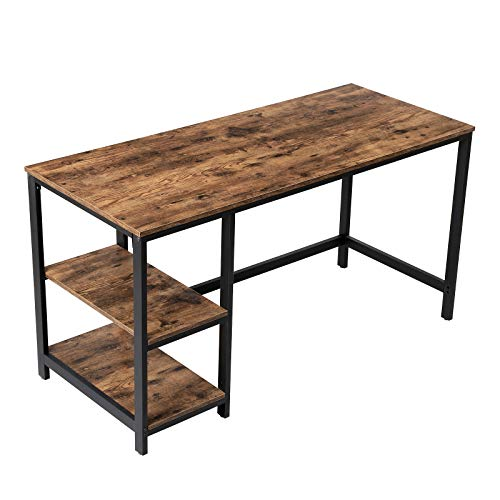 VASAGLE Industrial Computer Desk, 55 Inch Writing Desk, with 2 Storage Shelves on Left or Right, Stable Metal Frame, Easy Assembly ULWD55X (Industrial Computer Desk)