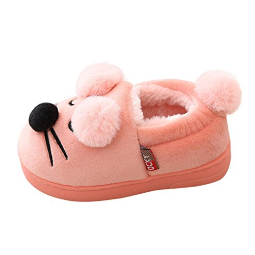 Price comparison product image Oksale Newborn Baby Girl Boys Cartoon Plush Soft Sole Non-slip Warm Velvet Snow Shoes (3-3.5T,  Pink)