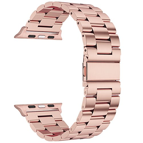 Valuebuybuy Stainless Steel Metal Clasp Buckle Wrist Strap Apple Watch - Rose - Metal Rose Gold