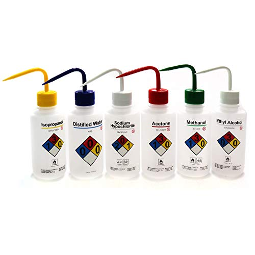 ULAB Scientific Right-to-Know Safety Wash Bottle Set, Acetone, Ethyl Alcohol, Methanol, Isopropanol, Distilled Water, Sodium Hypochloride, Vol.500ml with Draw Tube, UWB1001